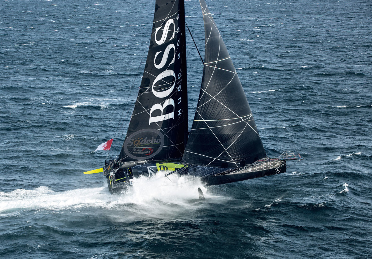 Yacht designers for AC36 will undoubtedly reference foiling Open 60s, like Hugo Boss