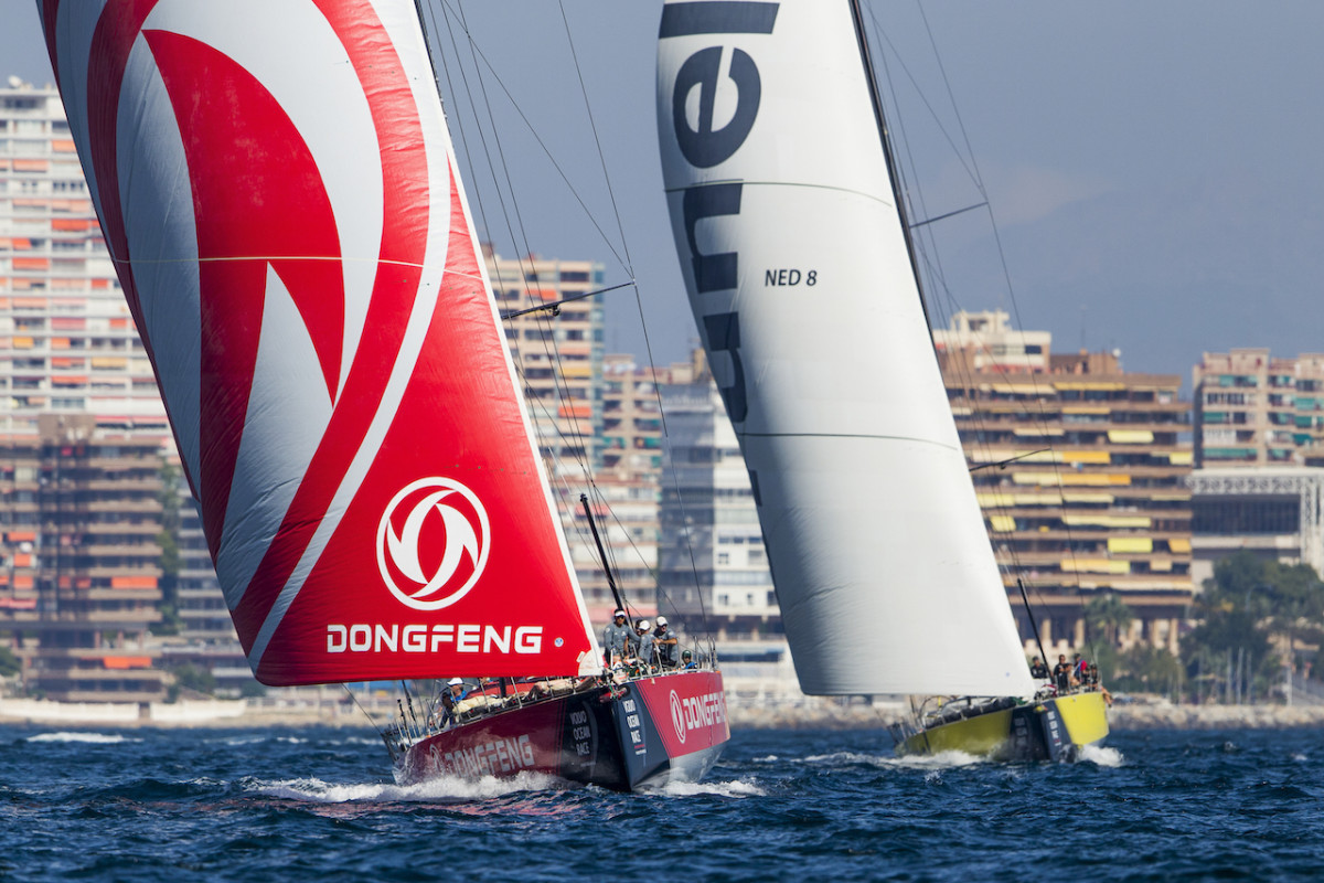 Dongfeng and Team Brunel have both looked strong in the run-up to this year's Volvo Ocean Race. Here they do battle during last weekend's in-port race in Alicante, Spain