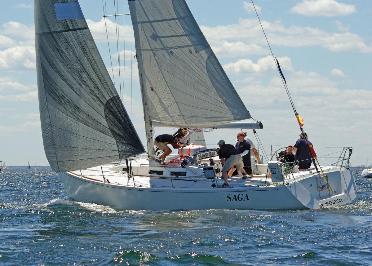 Saga reaches toward the starting line off Marblehead Neck