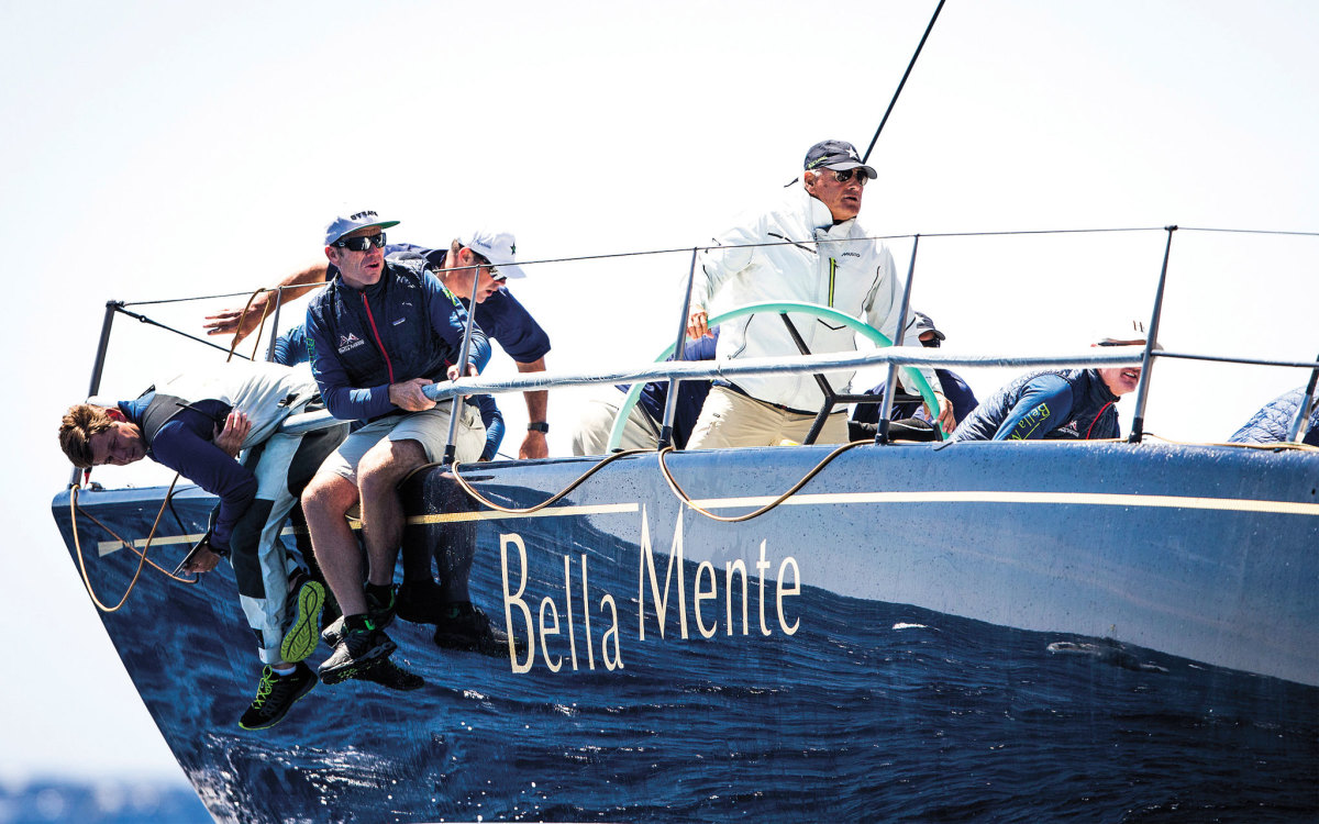 "John J. ""Hap"" Fauth at the helm of his current Bella Mente, a Maxi 72"