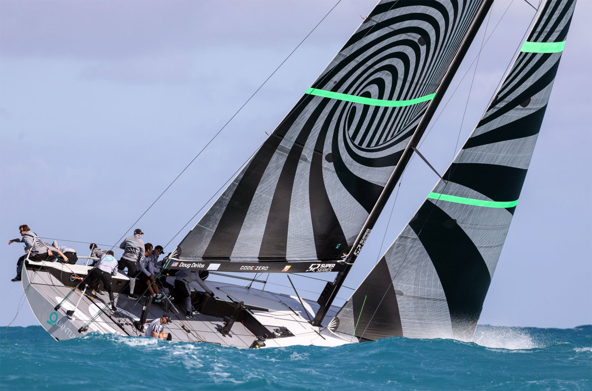 Quantum Racing prepares to douse the chute during a recent 52 Super Series race off Key West