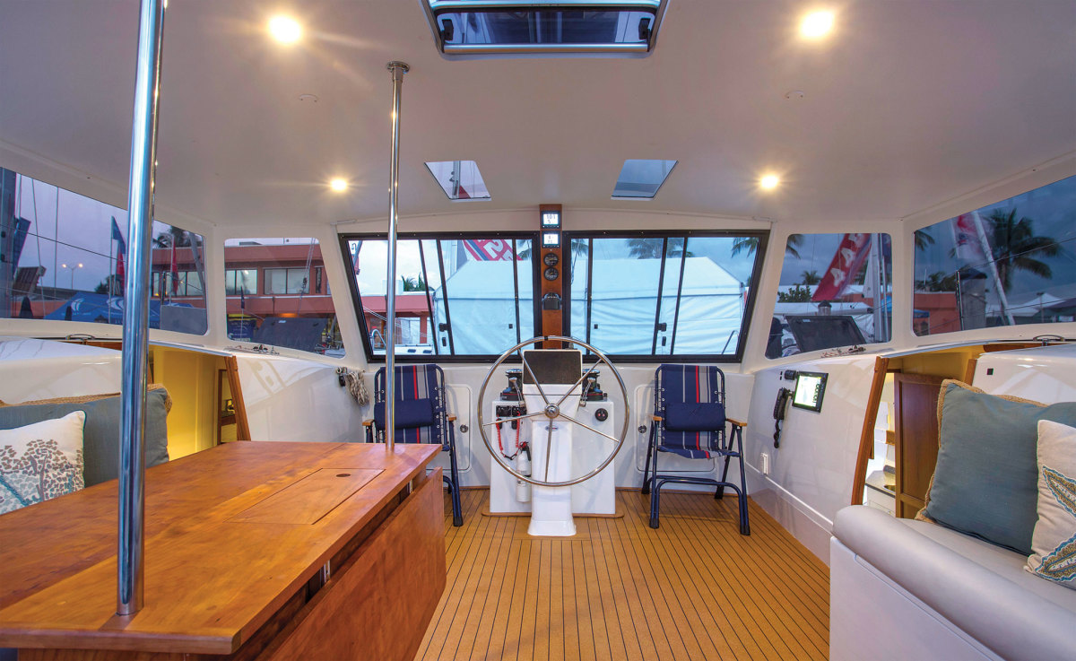The open-bridgedeck concept works well on the Maine Cat 38