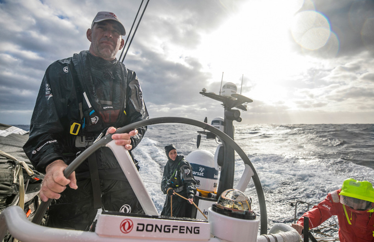 "Stu Bannatyne, the ""King of the Southern Ocean,"" does a trick at the helm"