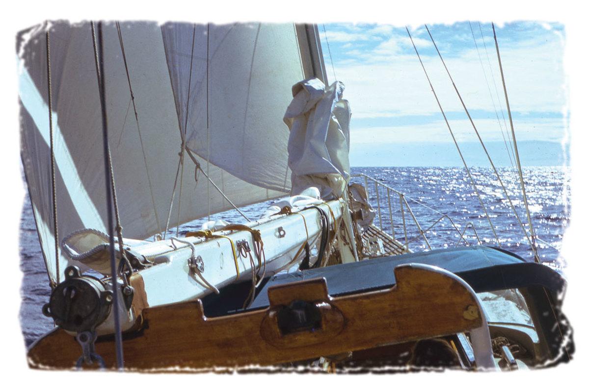 The Wilcox family's vessel, Vela, underway