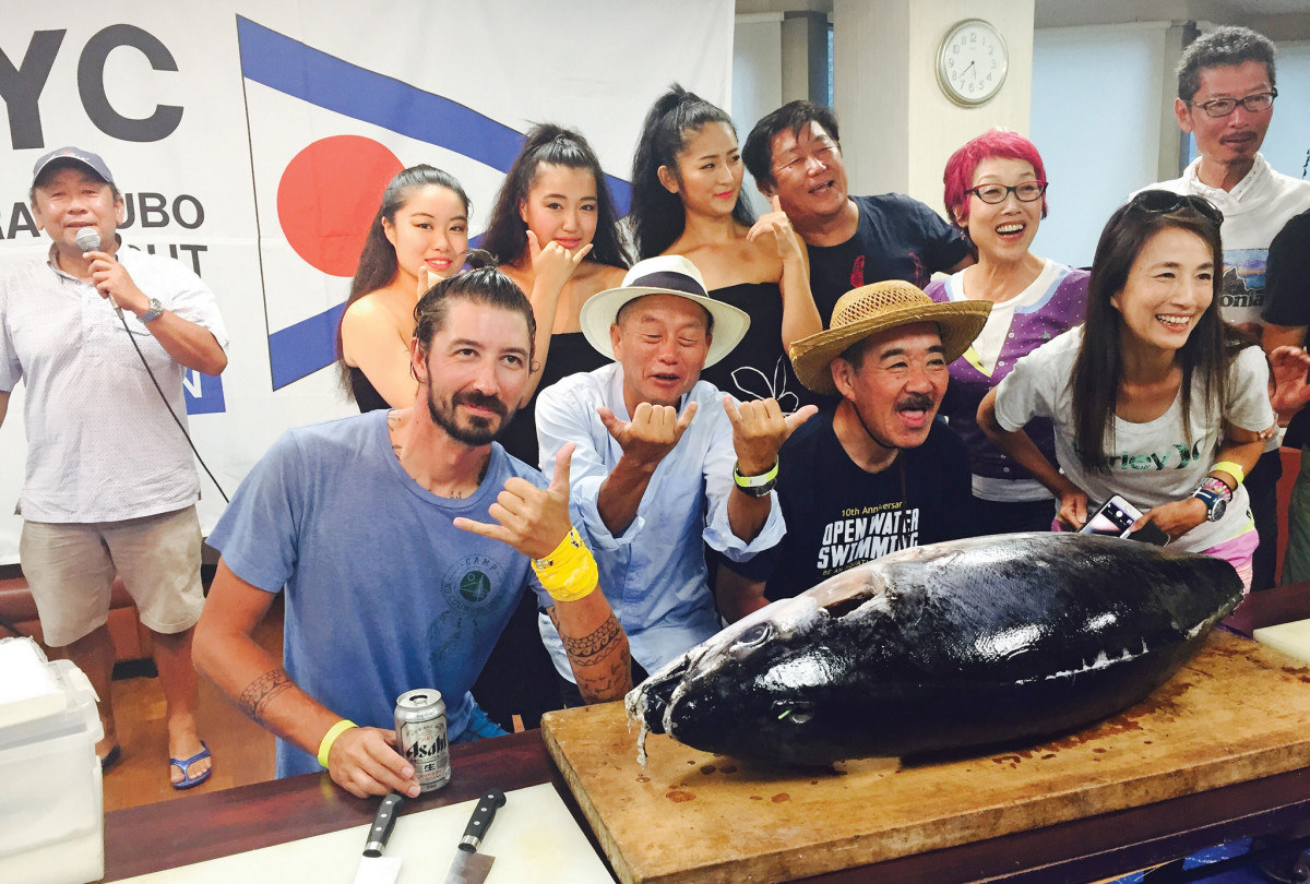 The author (front row left) joins the celebration alongside some soon-to-be sashimi
