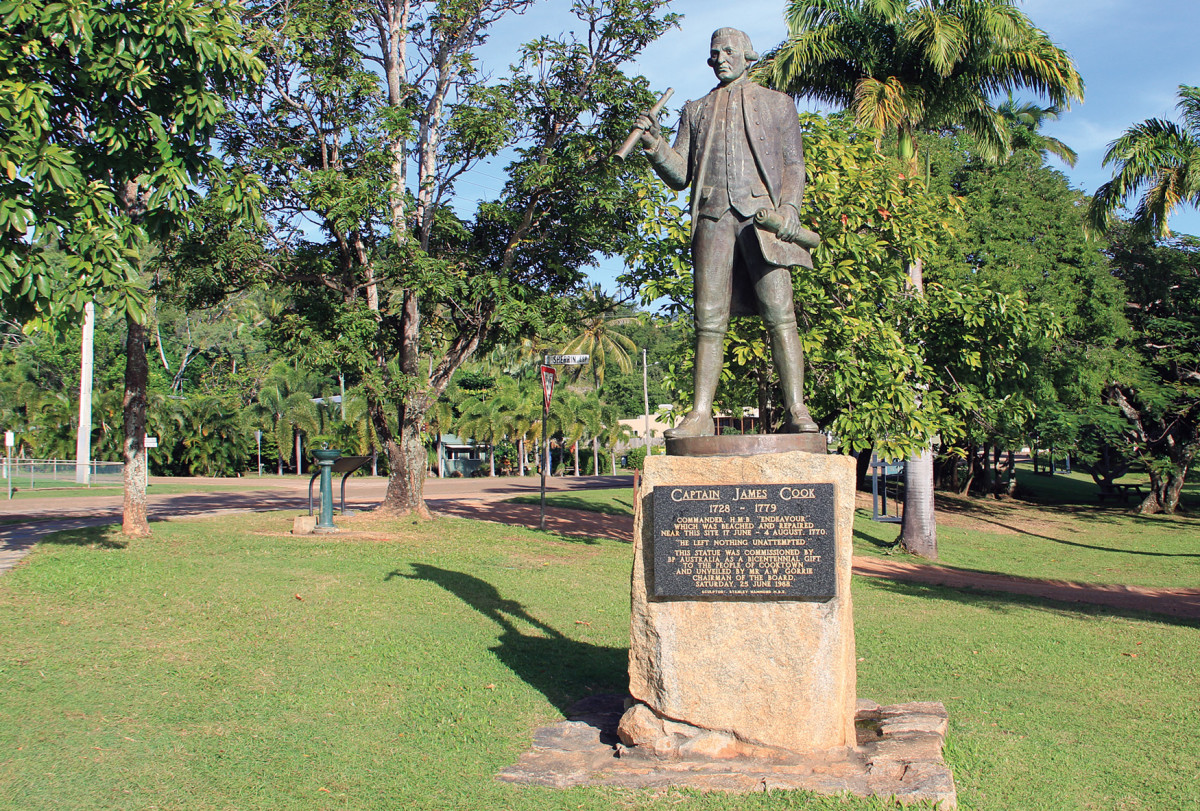 A statue of the Great Navigator in Cooktown, Australia