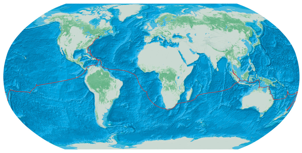The track of the Griswolds' voyage around the globe