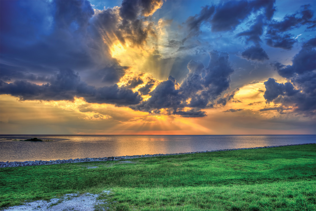 Spectacular sunsets are just one of the many charms of Lake Okeechobee