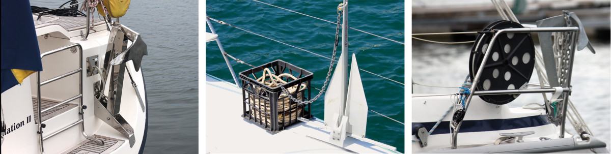 A typically pro-looking stern anchor setup (left); Not so pro, but just as effective (middle); Webbing stern anchor rodes are common (right)