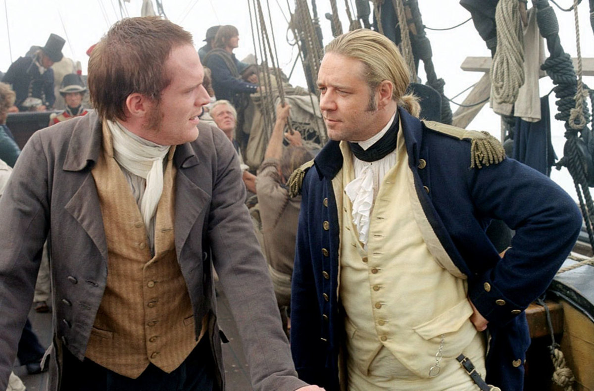 Paul Bettany (left) as Stephen Maturin and Russell Crowe as Captain Jack Aubrey in the film Master and Commander