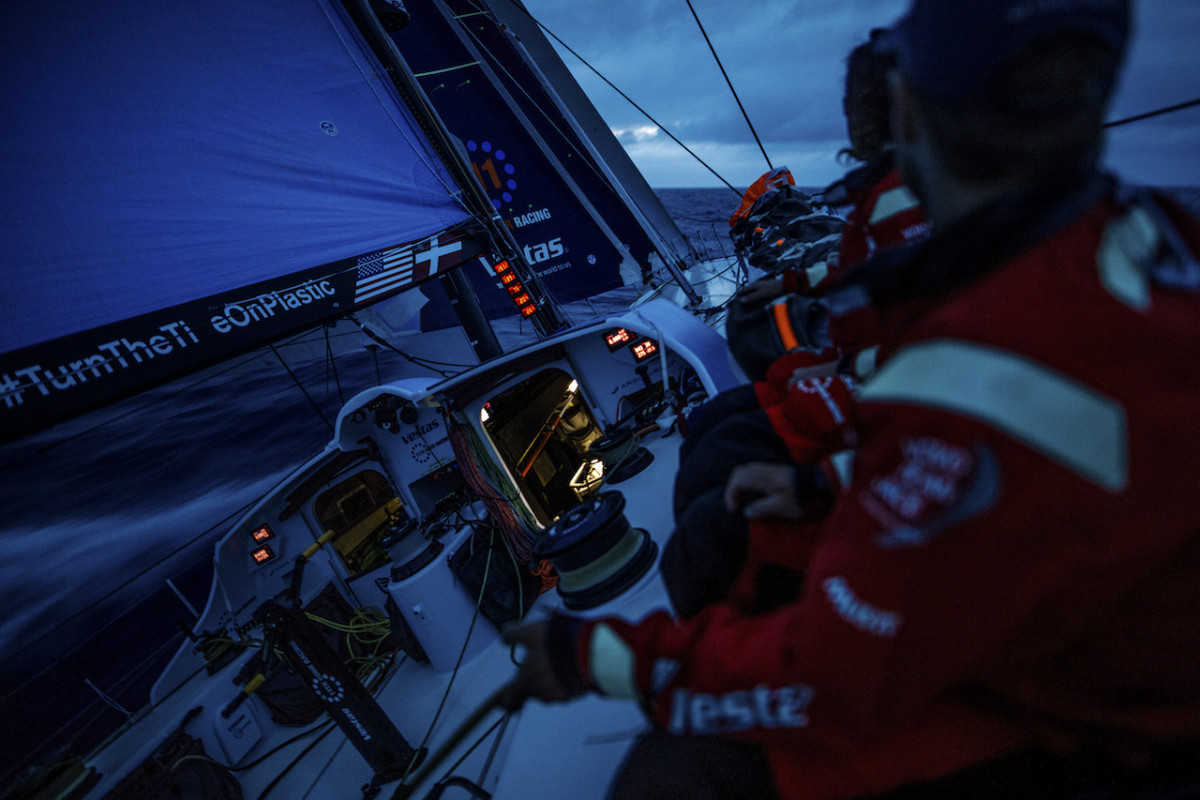 Vestas 11th Hour Racing powers along at near hull speed midway through Leg 4 of the 2017-18 Volvo Ocean Race