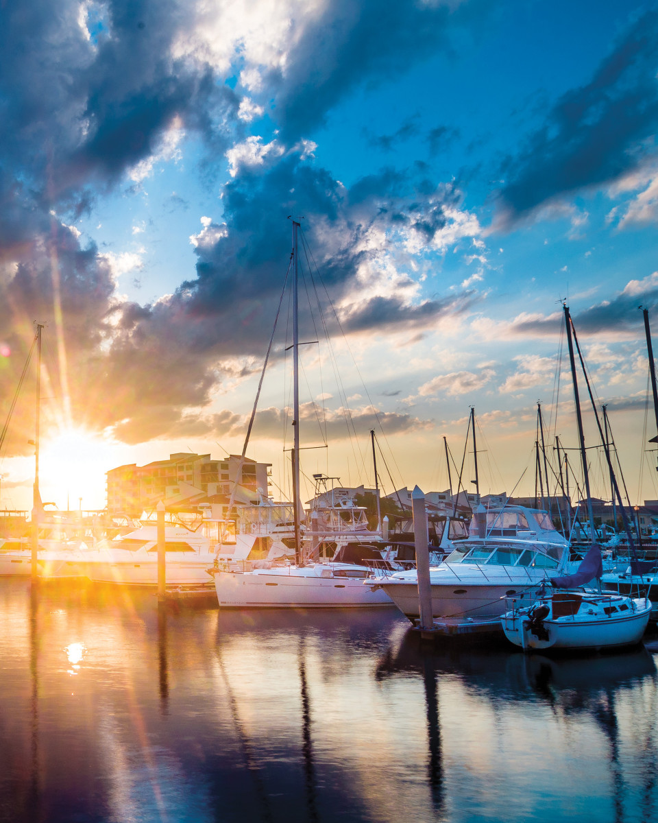 Sunset over Palafox Marina which many Pensacola boats, including the author's Niagara 35, Plaintiff's Rest, call home