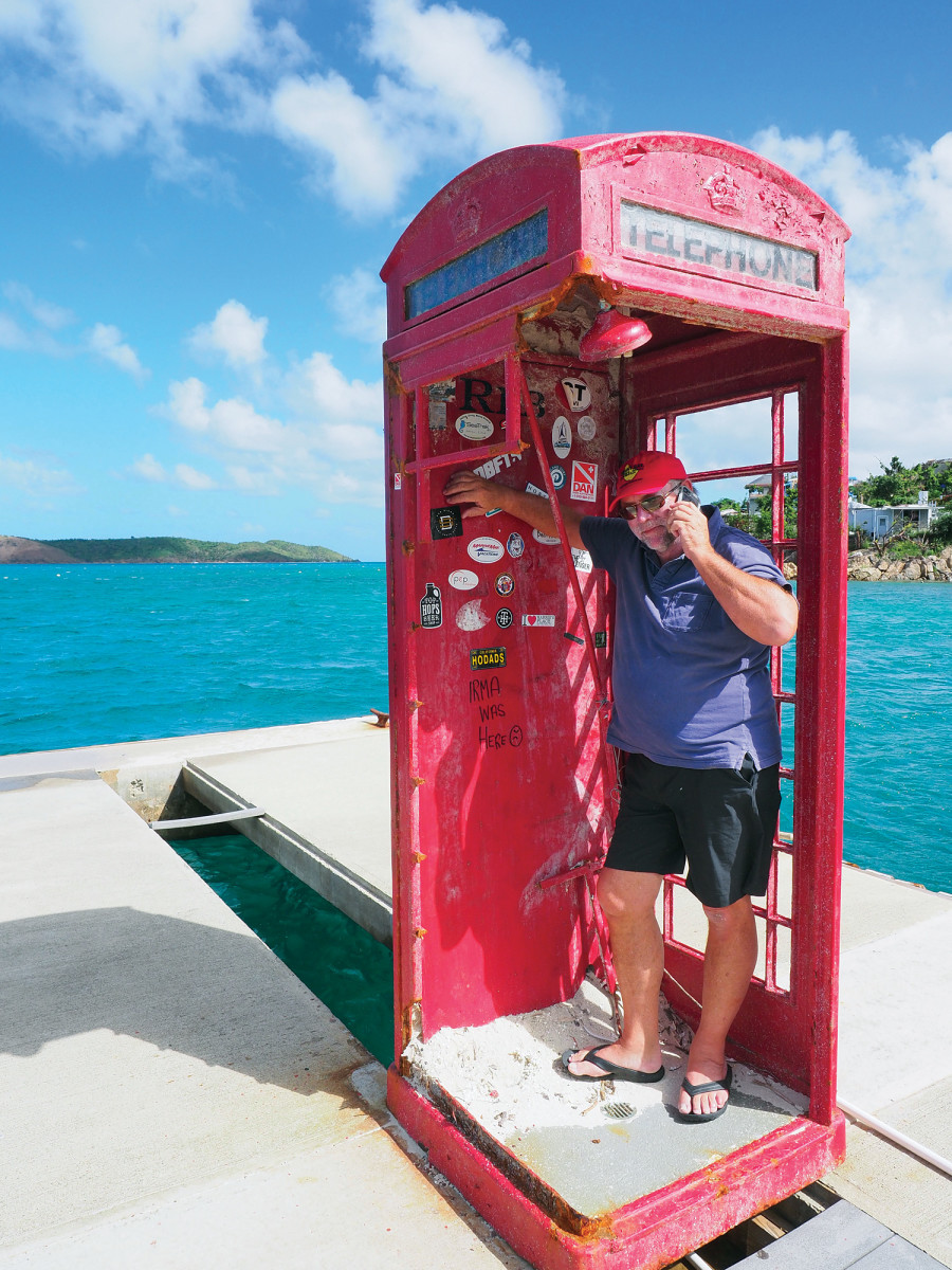 The phone box at Leverick Bay was rescued from a watery grave