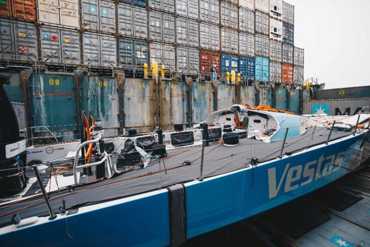 Vestas 11th Hour Racing's boat is making the trip from Hong Kong to New Zealand on the deck of a container ship as the team continues to effect repairs