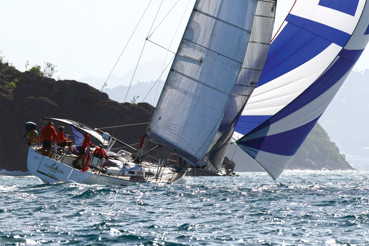 The Dufour 45 Scarlet Island Girl charges toward the ARC finish line in St Lucia's Rodney Bay