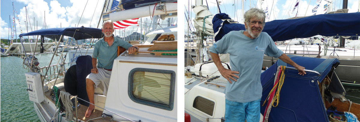 (Left) Rhode Islander Ted Rice was winding up an Atlantic circuit on his Shannon Pilothouse. The smallest boat in the ARC was David Nichols's Pearson Vanguard 32, Blue Mist (Right)