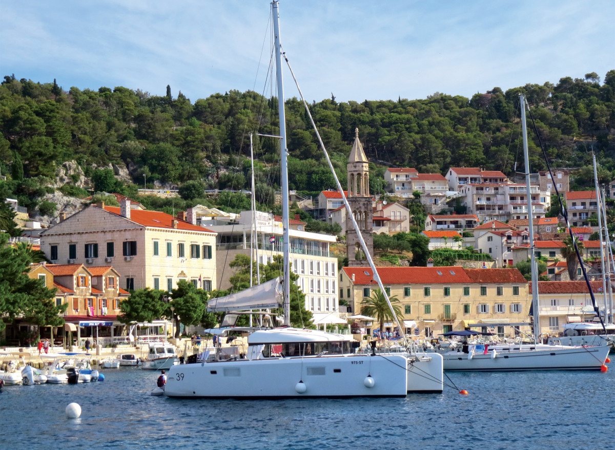 Beautiful Hvar Town has a busy harbor, so getting a mooring is a matter of great luck