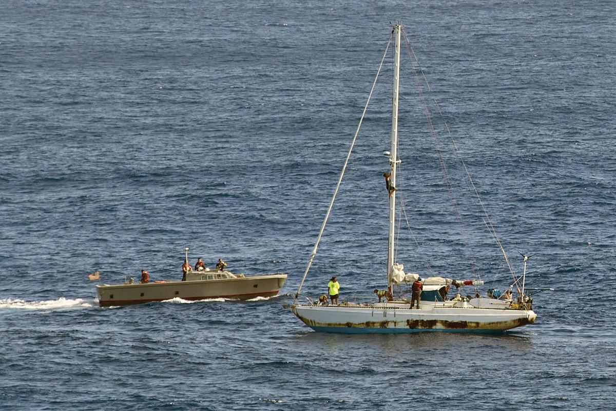 Fuiava and Appel aboard the USS Ashland