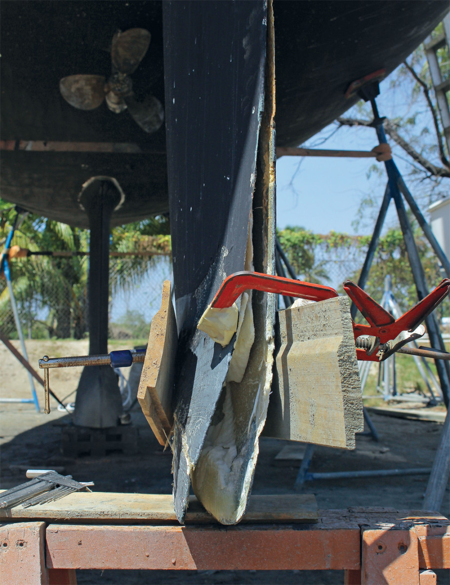 This rudder sustained serious damage in the course of a hard grounding off Fiji