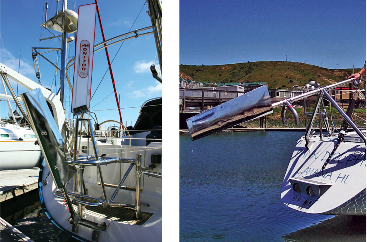 A Monitor self-steering system (left); and the SOS Rudder (right) both from Scanmar