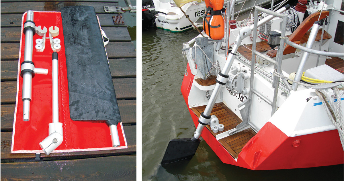 The SOS Rudder before being deployed (left); Windpilot's SOS Rudder (right) features rugged construction
