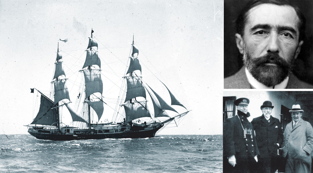 The ship Joseph Conrad, originally the Georg Stage, serves as a fitting memorial to the renowned sailor/author (left);            Conrad's experience as a sailor informed all his works, not just his sea stories (top right)   Conrad retained a connection to the sea throughout his life (bottom right)