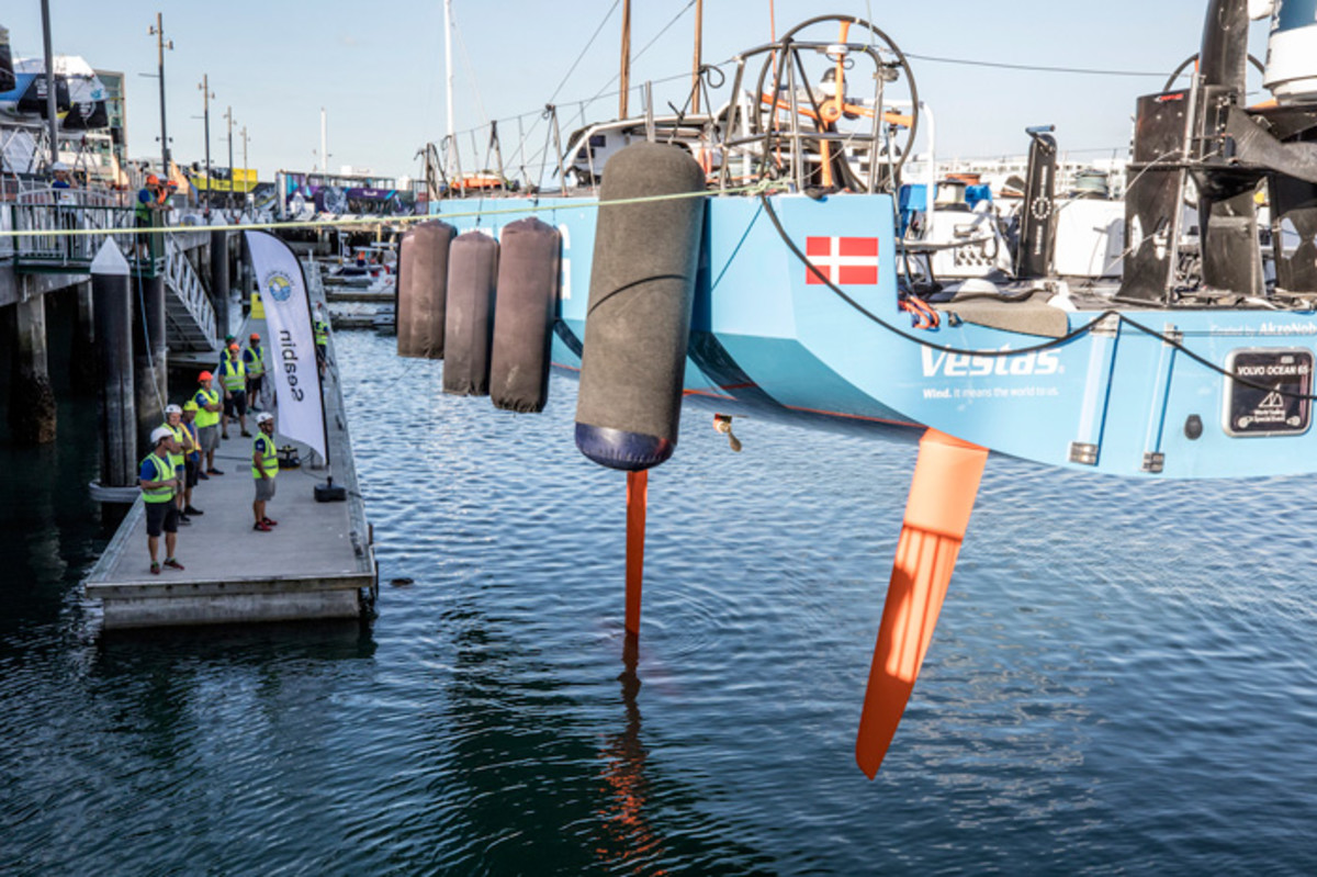 Vestas 11th Hour Racing launches its repaired boat in Auckland, New Zealand, in preparation for Leg 7 around Cape Horn to Brazil