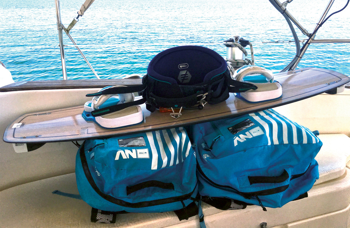 A complete set of kiteboarding gear with two kites is easy to stow on board