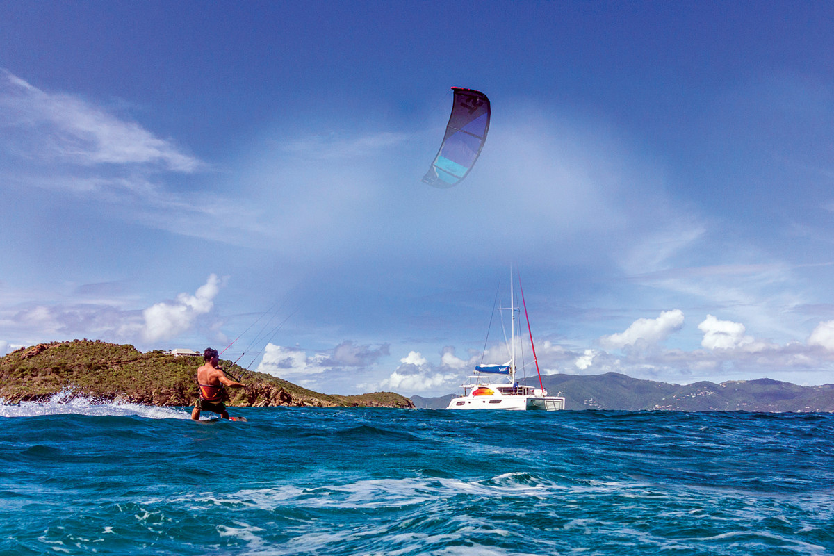 A kiteboard is a fun addition to a cruiser's armory