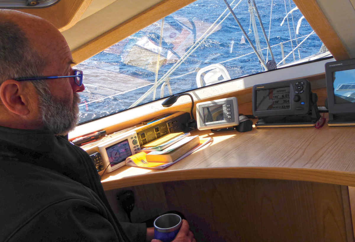 Inside the nav station on a Boréal 47. A nice place to visit, but you don't want to live here