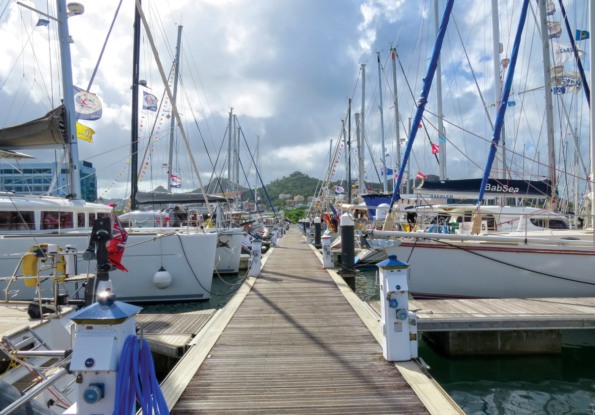 The docks at St Lucia's Rodney Bay Marina are packed with arriving yachts