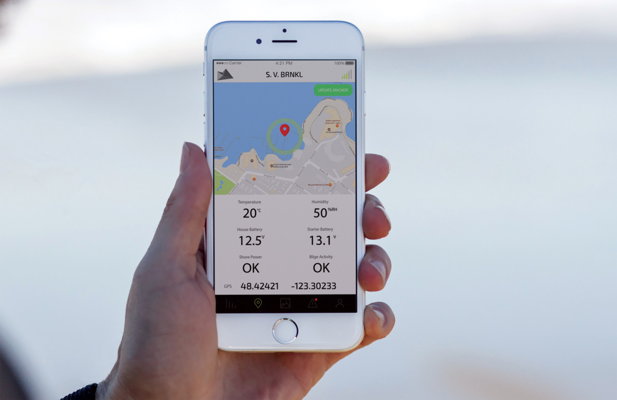 The BRNKL app is one of many that allow you to check your boat using your smart phone