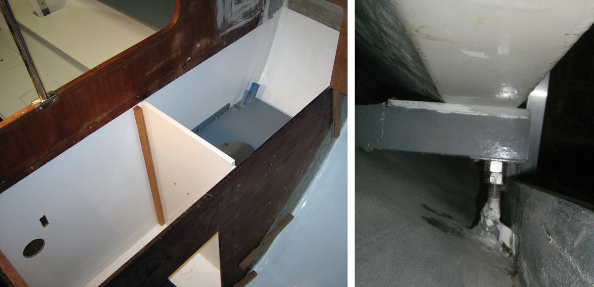 The smaller fuel tank is seen here in place in the galley; awaiting the finishing touches (left);An adjustable support for the big tank was glassed in place (right).