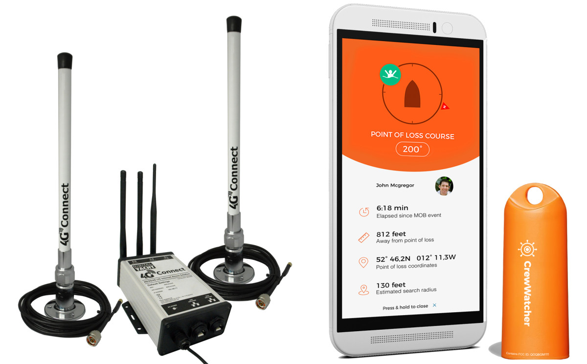 The Digital Yacht Connect Pro turns the boat into a WiFi hotspot (left); Phone apps like the CrewWatcher can save your life (right).