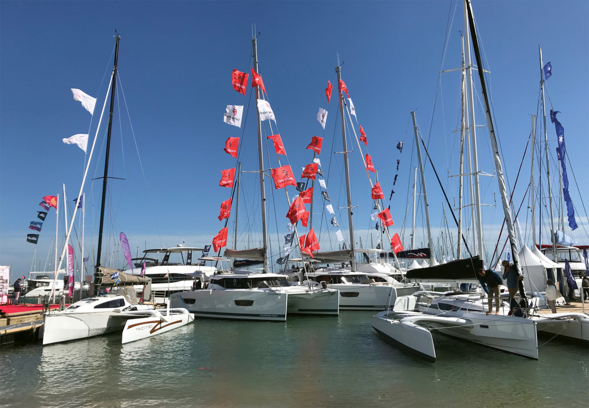 The small, focused boat show in La Grande Motte, France, attracts many multihull builders: here (from left) are boats from Tricat, Fountaine Pajot and Dragonfly