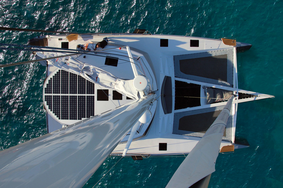 There's plenty of room for an extensive solar panel array aboard this performance cruiser