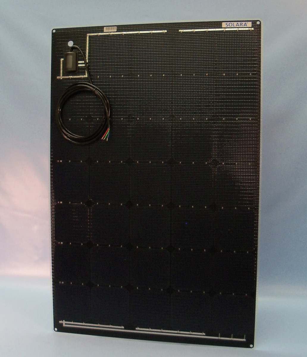 An example of a flexible solar panel, as manufactured by Solara