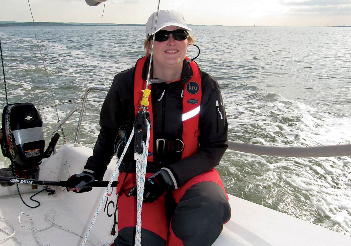 Lottie Harland at the helm during a sail with Ausome