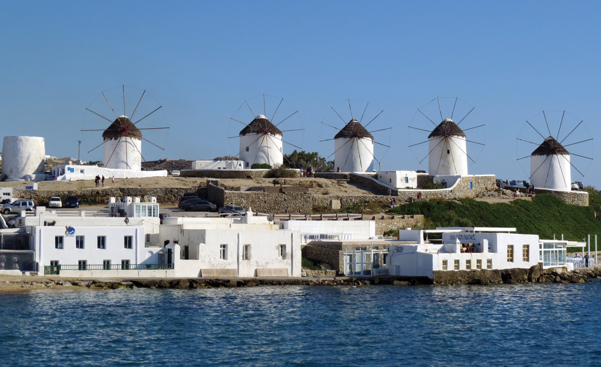 Windmills line the hillside on the island of Mykonos
