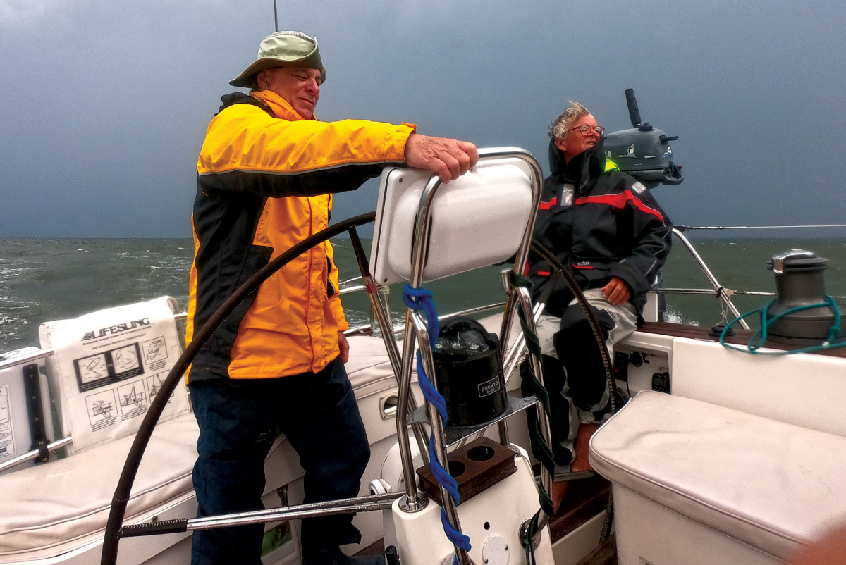 Jeff (left) and Andy navigate through some nasty weather
