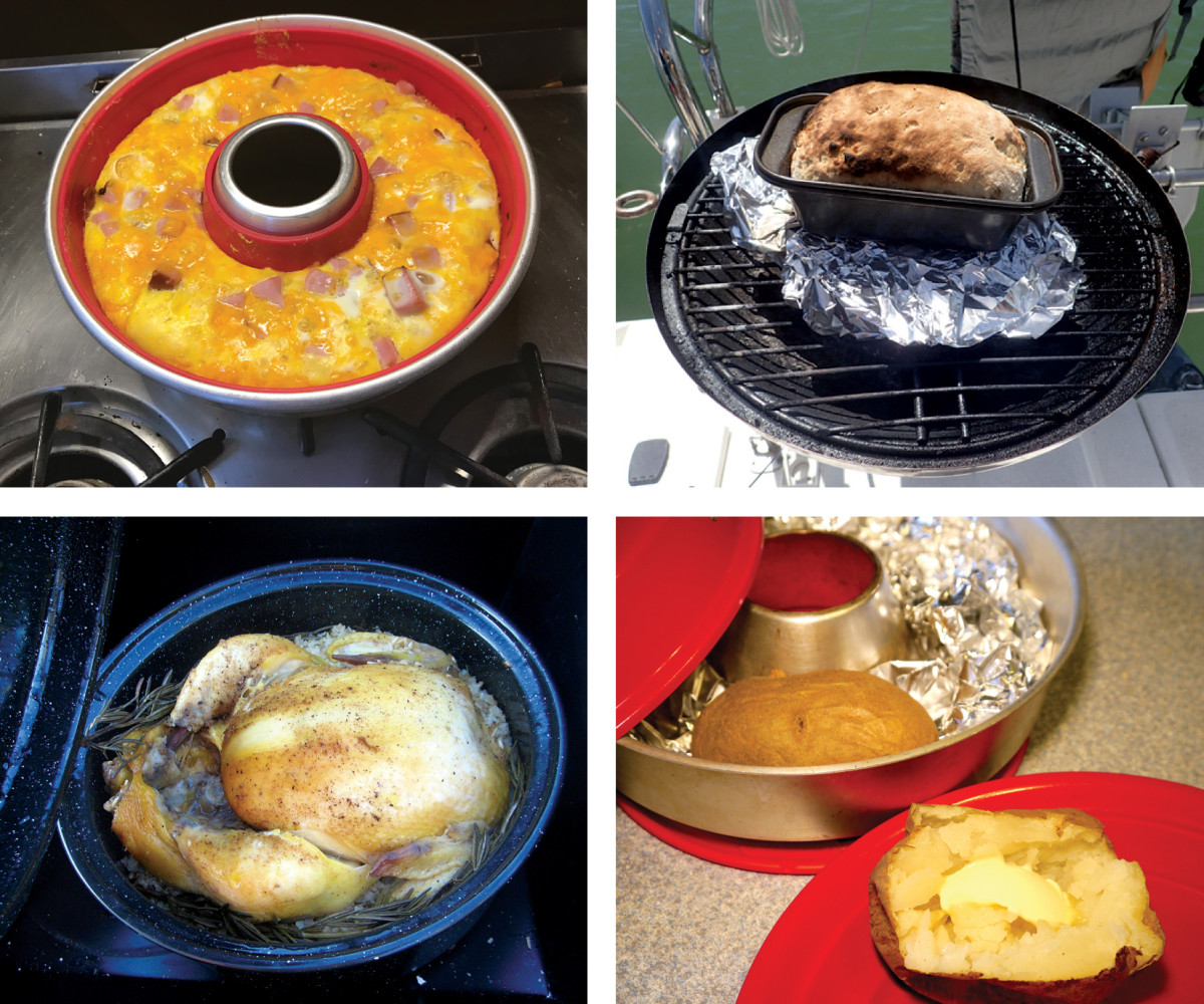 Breakfast—a crustless quiche baked in the Omnia oven (top left); If you have a grill, you can bake bread (top right); In the Solavore, you can roast a chicken without heating up the interior of your boat (bottom left); The versatile Omnia stovetop oven can bake everything from potatoes to bread (bottom right).