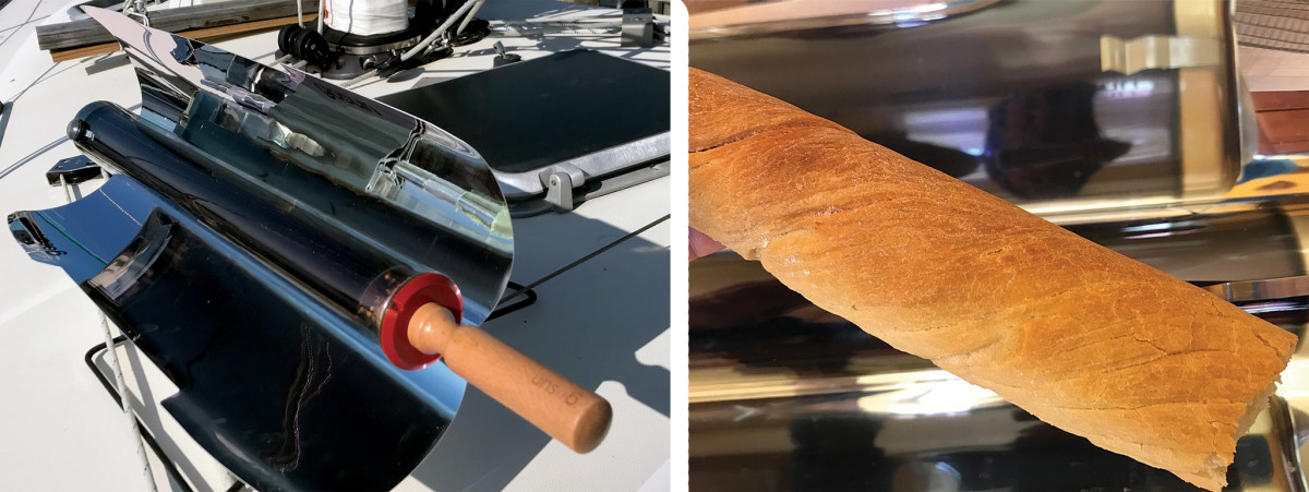 Just load the GoSun oven up, point its reflectors at the sun and let it get on with things (left); A freshly baked baguette, courtesy of a GoSun solar oven
