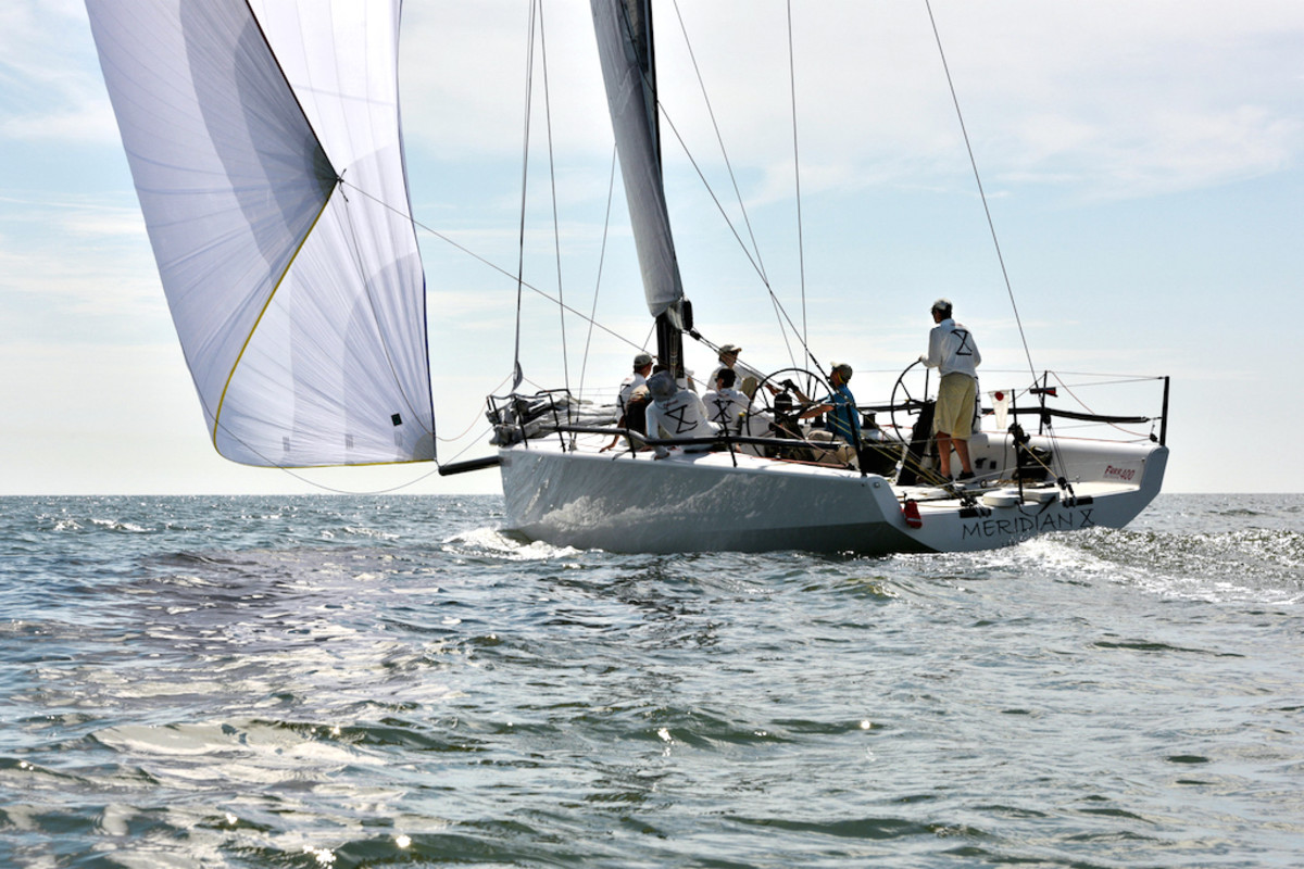 Meridian X stretches her legs on home waters during the 2018 Southern Bay Race Week in Hampton, Va. Courtesy photo.