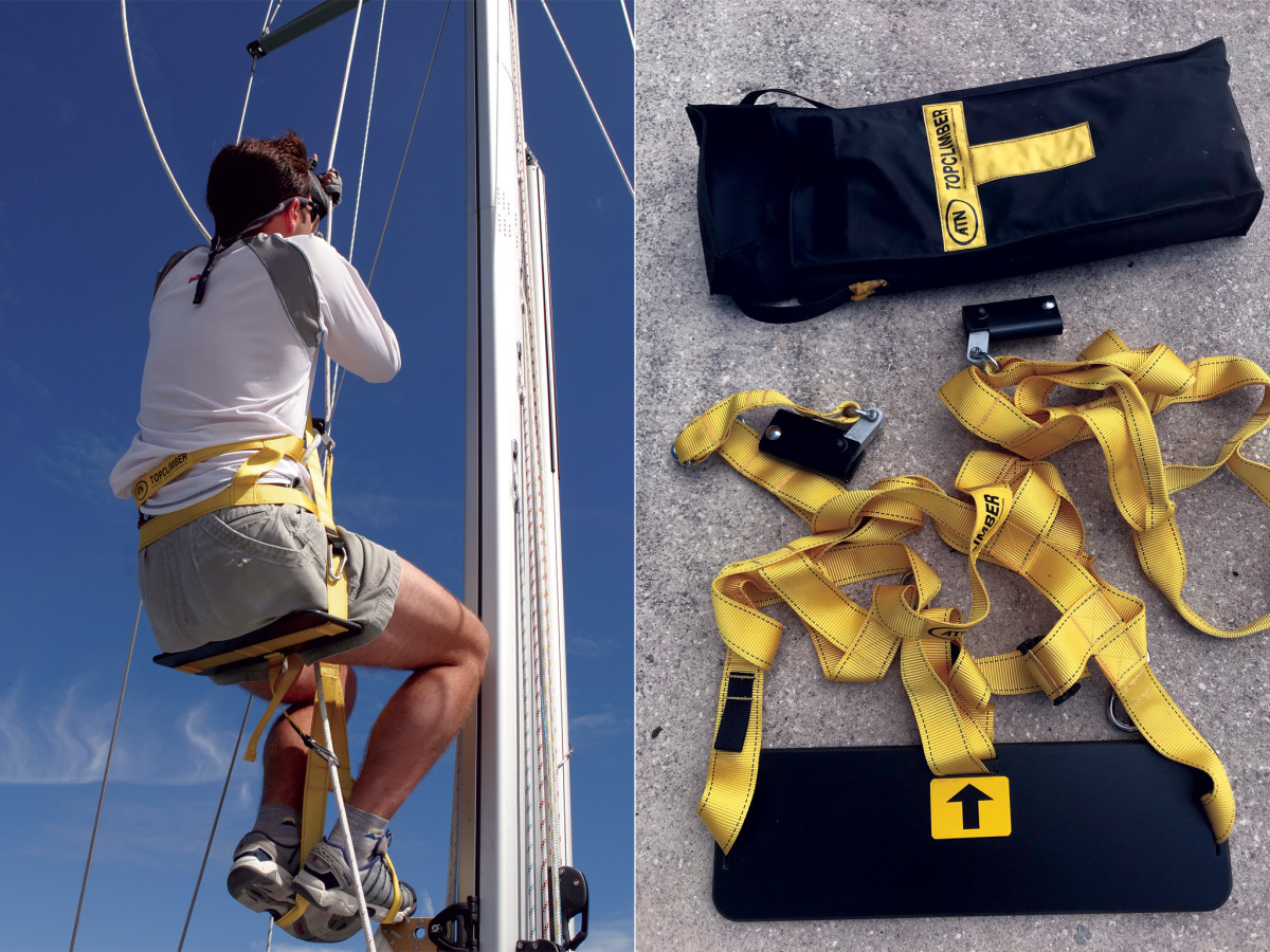 The Mastclimber is a simple and compact product. It gets easier with practice (left)