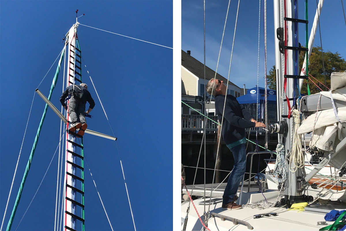 The sturdy Kinleven Marine ladder felt very secure (left);To rig a mast ladder you must first remove your mainsail from the luff groove or track (right).
