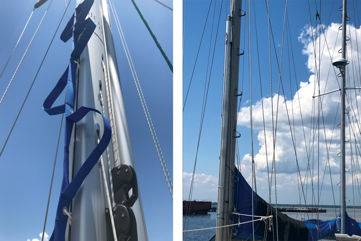 The Mast Mate is simple and effective (left);Mast steps on both main and mizzen—now that's a salty boat!