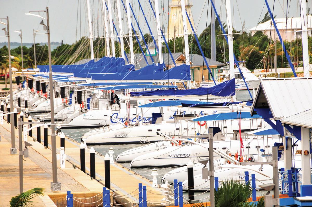 Unused charter boats lined up in Marina Gaviota