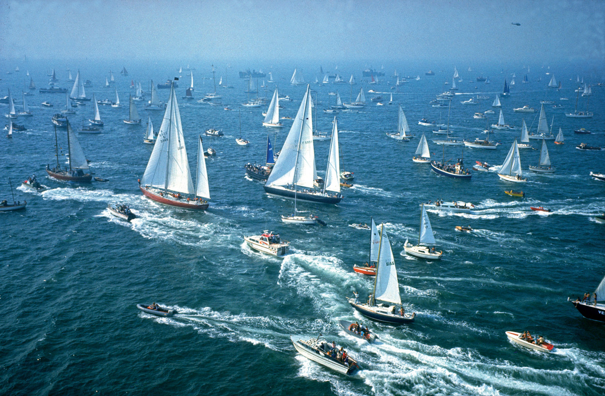 The way they were: racers head out to the start line of the 1973 Whitbread race