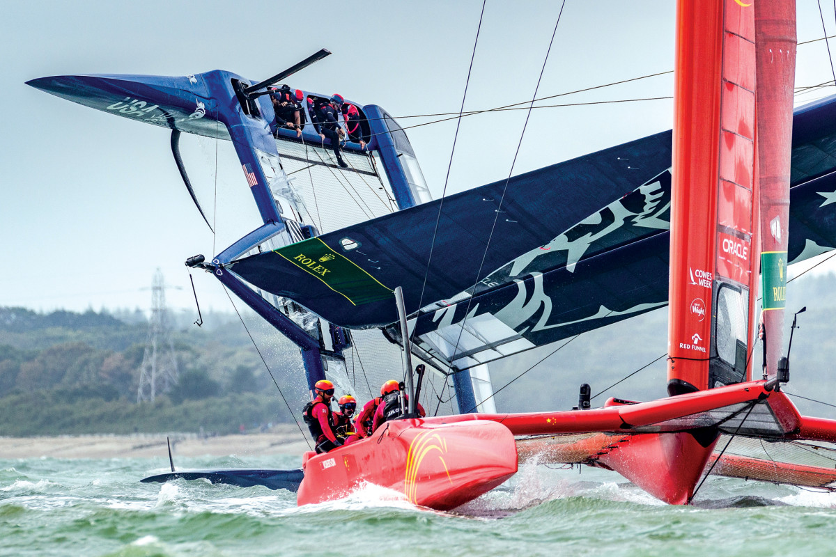 Whoops! the American SailGP team capsizes during the Cowes event.
