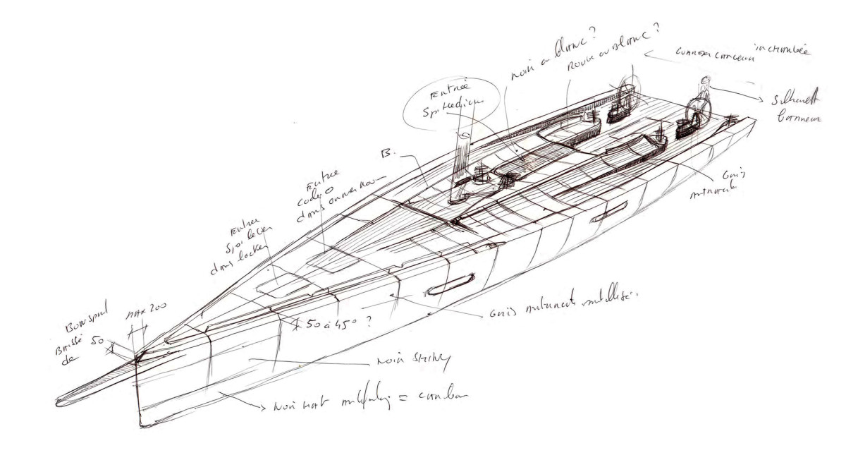An early sketch of a Wally 100-footer